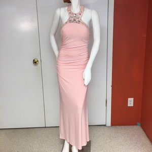 Pale Pink Jewel Collared Gown, NWT